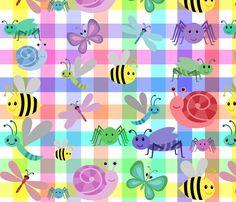 RAINBOW GINGHAM CRITTERS fabric by bluevelvet on Spoonflower - custom fabric