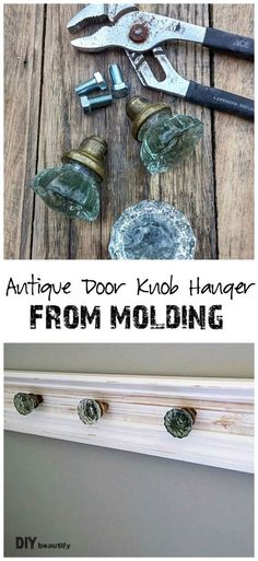 Antique door knob hanger from molding pieces | DIY beautify