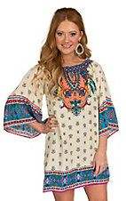 Could be worn as a tunic w/jeans or leggings. Flying Tomato Women's Cream with Multicolored Print Dress