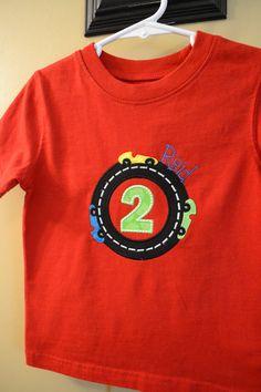 Racecar Birthday Appliqued Tshirt or Onesie by JohnsonSquadDesigns