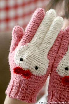 And They Call It Bunny Gloves … Cute Knitting! : And They Call It Bunny Gloves … Cute Knitting! Crochet Gloves, Knit Mittens, Knit Or Crochet, Crochet For Kids, Crochet Baby, Knitting For Kids, Knitting Projects, Knitting Patterns, Crochet Patterns