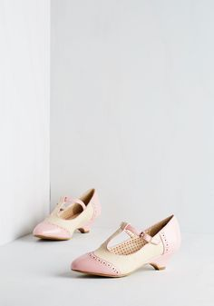 Care to Dance? Heel in Bubblegum. When your plans involve cutting a rug with your date, buckle into these two-toned heels by Bait Footwear! #pink #modcloth