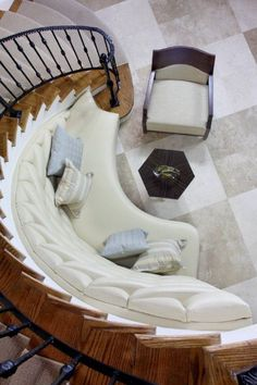 built in bench for curved staircase. provides nice seating while waiting or putting on shoes. Curved Bench, Curved Walls, Built In Bench, Bench Seat, Curved Staircase, Staircase Design, Staircase Ideas, Extra Seating, Cool House Designs