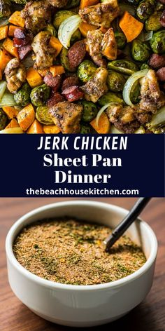 A little sweet, a little spicy, this Jerk Chicken Sheet Pan Dinner with Sweet Potatoes and Brussels Sprouts is perfect for those busy weeknights. It's an easy, comforting meal that's a party for your taste buds!