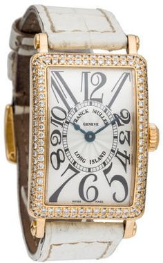 Ladies' 18K yellow gold 23x32mm Franck Muller Long Island Watch with diamond bezel, silver-tone guilloche dial, Arabic numeral hour markers, blued steel hands, fluted push/pull crown, white alligator strap and tang buckle closure.