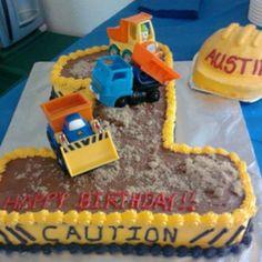 Construction Zone cake w/hard hat cake