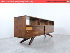 Mid Century Solid Walnut Divisadero by jeremiahcollection on Etsy