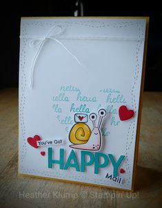 Snail Cards, Kids Birthday Cards, Stamping Up Cards, Paper Cards, Cool Cards, Greeting Cards Handmade, Homemade Cards, Cardmaking, Creations