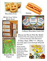 Menu items and snacks for Wizard of Oz Dinner and Movie Nite.