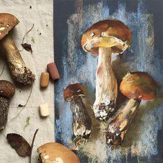 Вдохновлённая грибочками @elenatatkina Наждачка, пастель Rembrandt #пастель #рисуюпастелью #наждачка #скетч #грибы #artist #softpastel #softpastels #mushrooms