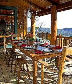 Rustic Porch with Dixie Shaker Style Ladder Back Chair, Riedel Vinum XL Oaked Chardonnay 4 Piece Value Set, Wrap around porch Log Cabin Homes, Log Cabins, Mountain Cabins, Log Home Floor Plans, House Plans, Log Home Living, Modern Rustic Homes, Modern Farmhouse, Decks And Porches
