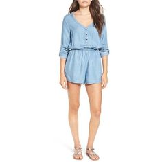 Women's Rvca 'Mobile' Chambray Romper ($69) ❤ liked on Polyvore featuring jumpsuits, rompers, chambray, deep v neck romper, playsuit romper, blue rompers, chambray romper and chambray rompers