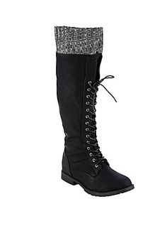 Black Lined Boots, BLACK