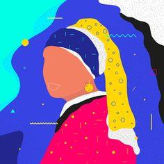 "Famous Paintings Interpretation Vermeer ""Girl with a pearl earring""  #illustration #painting #vermeer #girlwithapearlearring #geometric #graphicdesign #color #classic #ewelinagaska #pattern #earrings #fashionblogger #fashion #warsaw #polishart #lovemyjob #lovemylife #me #happy #series #workinprogress #behance #gfxmob #fubiz #instagood #daily #flat #polishgirls #artist #designinspiration"