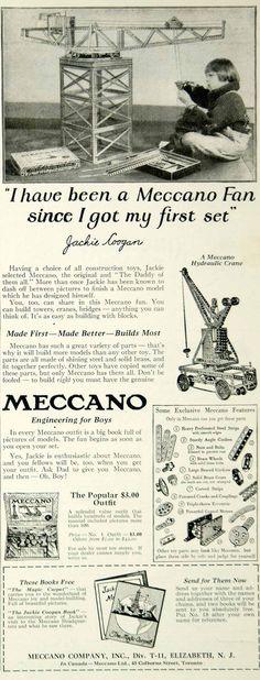 1925 Ad Meccano Children's Building Toys Jackie Coogan Child Actor Movie YYC6