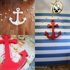 Pokój dziecięcy w stylu MARYNARSKIM. Nautical kids room makeover. Styl marynarski - nautical interior design . #nautical #marynarski #stylmarynarski #nauticalinterior #pokójmarynarski #szablonmalarski #stencils #malowanieszablonu #wallstencil #diyanchor #diy #anchor #kotwica #zróbtosam #kotwicadiy Symbols, Interior, Lashes, Icons, Design Interiors, Interiors, Glyphs