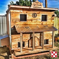 """Chicken coop idea: The Wild Wild West!  """"I built this 'Egg Shooter Saloon' last spring for my chicken ladies. I wanted something that represented the west, where I live. I went to the lumber yard and loaded up on plywood and 2x4s and just started throwing it together. I finished it off with some old barn wood I had kept from my grandparent's ranch. It was a lot of fun to build and the flock seems to love it!"""" – Purina Poultry fan Andrew P."""