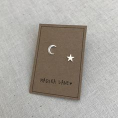 Tiny Crescent Moon and Star Stud Earrings. Mix Matched Earring