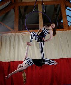 Lauren Red & Gemma Cakey-B doubles aerial hoop/lyra at www.flightfitness.co.uk  Photo by www.graceelkinphotography.co.uk