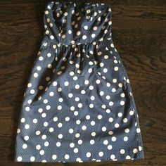 Navy and cream polka dot strapless dress Side pockets, never worn, tags still attached Limited Dresses Strapless