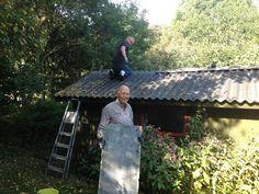 Fik hjælp fra genboen med nyt tagryg på hytten ned skoven