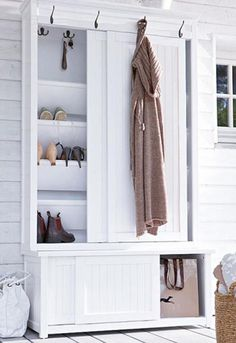 22 Shoe Storage Ideas Creating Space Saving Interior Design Shoe storage ideas can be simple and sophisticated, cheap and expensive. Smart, practical and space efficient [. Front Closet, Entryway Closet, Hallway Storage, Closet Storage, Mudroom, Storage Hooks, Closet Doors, Storage Spaces, Cabinet Closet