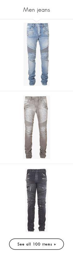 """Men jeans"" by princess-kiana ❤ liked on Polyvore featuring men's fashion, men's clothing, men's jeans, jeans, men, pants, axel pierce, men wear, mens light blue jeans and balmain men's jeans"