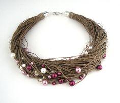 Pink pearls linen necklace /  multistrand necklace / by dekkoline