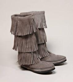 Minnetonka 3-Layer Fringe Calf High Boot  These Minnetonka boots are adorable