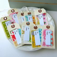 To From Sewn Fabric Gift Tags, Sewn Stitched Gypsy Style Fabric Hang Tags, Appliqued Fabric Scrap Stitched Gift Tags, Set of 9,  - No.117