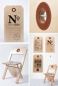 oversized label tag folding chairs designed by Felix Guyon of La Firme Design  http://lafirme.ca/objet/chaise-etiquette/