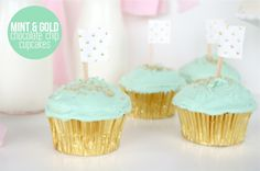 Mint and Gold Chocolate Chip Cupcake recipe from Ashley Rose of Sugar & Cloth