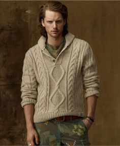 Denim & Supply Ralph Lauren Sweater, Chunky Cable-Knit Sweater - Mens Sweaters - Macy's