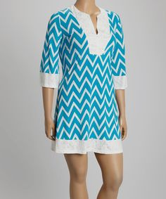 Look what I found on #zulily! Blue Zigzag Lace Shift Dress - Plus by Reborn Collection #zulilyfinds