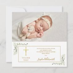 Baptism Christening Greenery Photo Thank You Card Photo Thank You Cards, Thank You Messages, Christening Photos, Gold Letters, Keep It Cleaner, Holiday Cards, Greenery, Greeting Cards, Lettering