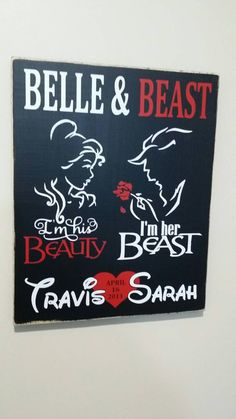 99b1ab02e Items similar to 12 x 14 Disney Beauty and the beast personalized with your  names wood sign on Etsy
