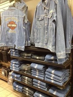 WOW! DENIM! HUGE selection of denim here! For more info, call H-D® of Dallas' knowledgeable Motorclothes® ladies! 214-495-0259   #custom #apparel #HarleyDavidson #men #guys #fashion #skull #bling #stylish #rugged #biker #motorcycle #jeans #denim #jacket #riding #outfit
