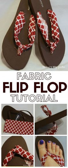 ff57bcf8fd4e37 Customize a pair of Flip Flops with your favorite Fabric and a hot glue.  Match