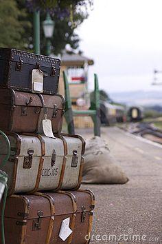 Royalty Free Stock Image: Vintage Luggage on a railway station platform. Image: 11247676