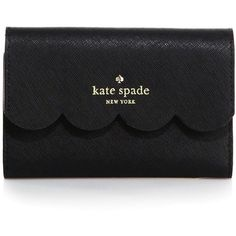 Kate Spade New York Lily Avenue Wallet (230 AUD) ❤ liked on Polyvore featuring bags, wallets, fillers, accessories, black, apparel & accessories, tri-fold leather wallet, kate spade, 100 leather wallet and leather flap wallet