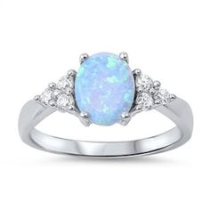 1.50 Carat Oval Light Blue Lab Opal 925 Sterling Silver Ring Russian Diamond CZ Fashion Solitaire Diamond Accent Wedding Engagement Ring