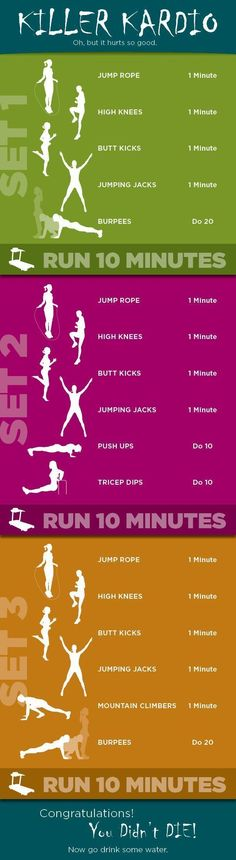 Great cardio circuit with or without the treadmill running portion! You could build up to the running level by level.: