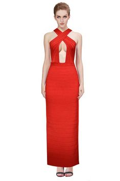 Herve Leger Sexy Crossed Cutout Long Dresses