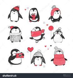 Cute Hand Drawn Penguins Set - Merry Christmas Greetings Stock-Vektorgrafik - Illustration 329821625 : Shutterstock