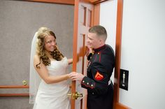 seeing the bride for the first time, before the ceremony, but still special.