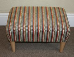 Small Ercol inspired footstool upholstered in Romo Aran fabric. £165 Can be ordered in other sizes & fabrics