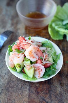 Thai shrimp and cucumber salad cant wait to make this I have everything for it!