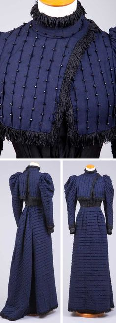 """Two-piece walking dress, ca. 1893-95, navy blue wool, with 3/4"""" tucks spaced an inch apart across entire bodice and skirt. Jet beads placed an inch apart on edge of tuck fold. Short bolero-style piece over bodice. High collar, leg o' mutton sleeves trimmed with 1""""-long fringe. Cuff and lower portion of bodice of black silk faille. Gored skirt flared in back, pleats at waist. Goldstein Museum, Univ. of Minnesota"""