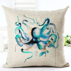 Manufacturers Wholesale Customized  Sea Turtle Jellyfish Printed Cotton Linen Decorative Pillow Cushion For Home #Affiliate