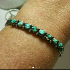 16. Sterling old pawn turquoise cuff bracelet This is a beautiful bracelet with genuine turquoise. It is very old sterling silver unmarked but guaranteed to be sterling. Jewelry Bracelets